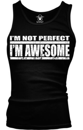Funny Humor Boy Beater Tank Top Distressed I/'m Not Perfect I/'m Awesome