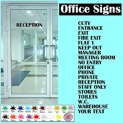 self adhesive vinyl sticker 18 colours office door signs personalised word