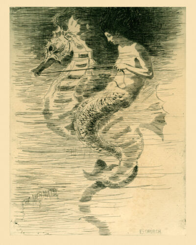 Mermaid Seahorse Frederick Church 16X20 Vintage Poster Repro FREE SHIP in USA