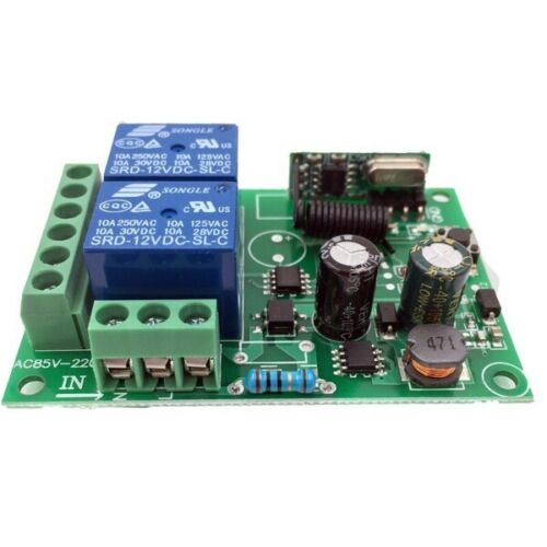 433MHz Universal Wireless AC 110V 220V 10Amp 2200W 2CH Relay with Remote Control