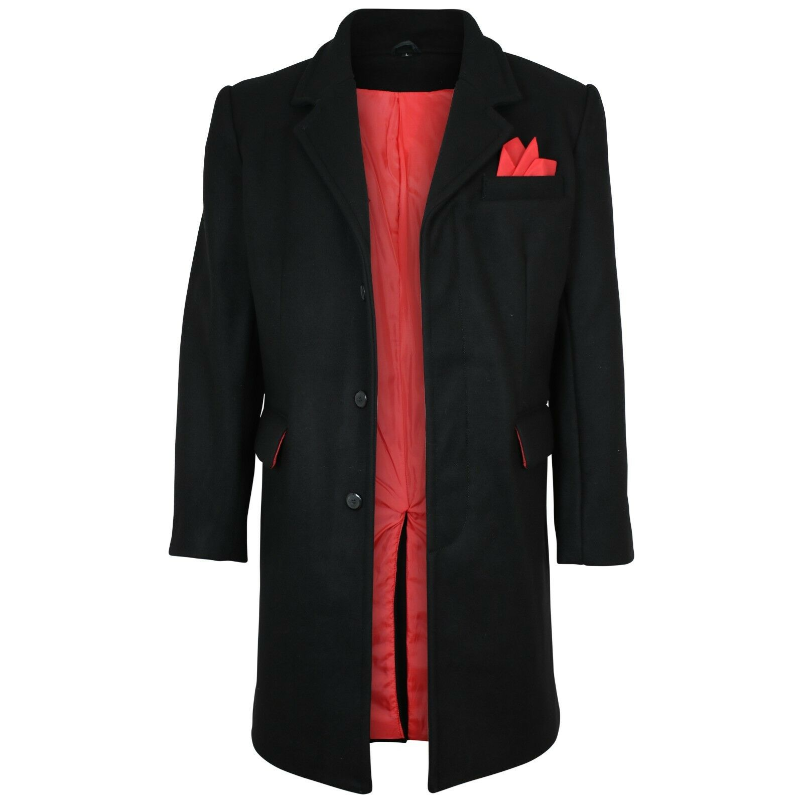 Relco  Herren Mod Coat/Overcoat With ROT Lining 80% Wool Original Timeless Cut