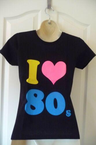 AGE 3-13 years I LOVE 80s Girls Black short sleeve Cotton T-Shirt NEW