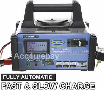 Ring RCB312 Workshop Dual 6v 12v 12Amp 3000cc Car Automatic Fast Battery Charger