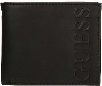 Men's Guess Embossed Logo Leather Slim Lightweight Bifold Billfold Wallet