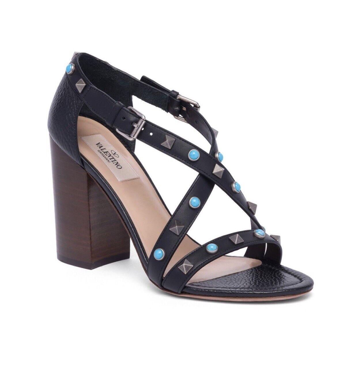 New Heel Valentino Rockstud Rolling  Leder Block Heel New Sandals Size 35EU/5US $1045.00 8c3658