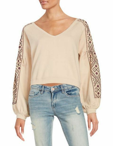 NEW Women's FREE PEOPLE Embroidered Sweatshirt Ivory Small NWT
