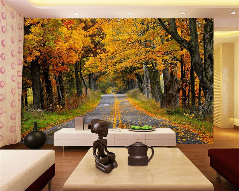 Narrow Autumn Road Tree Full Wall Mural Photo Wallpaper Print Kids Home 3D Decal