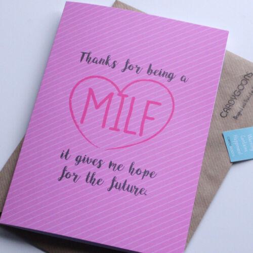 Drôle Fête Mères carte-MILF-Maman Humour Grossier