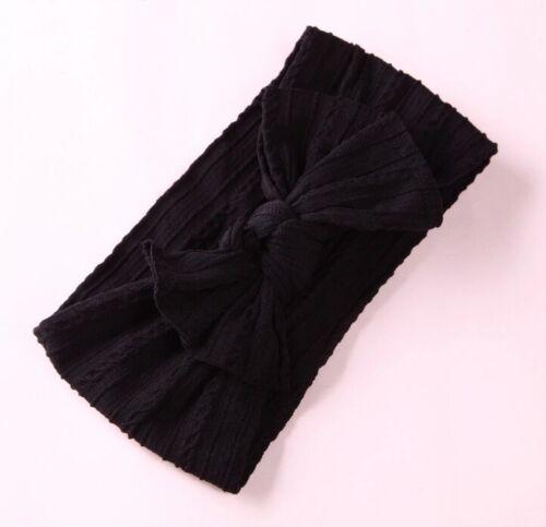 Braid Nylon Bow Headbands,Cable Knit Solid Wide Nylon Headband Baby Girls
