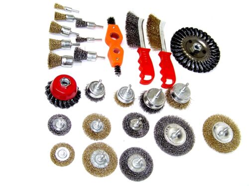 25pc Wire Brush Assorted Wheel Set Crimp Cup Large Wire Brush Cleaner New set