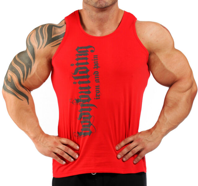 BODYBUILDING VEST WORKOUT  GYM CLOTHING RED K-123