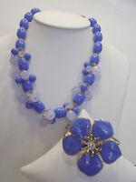 Robert Rose Garden Party Beaded Necklace & Floral Bangle Wardrobe Set Blue