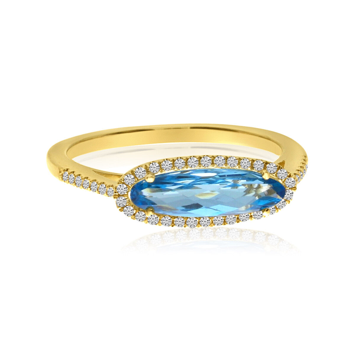 14K Yellow gold Elongated Oval bluee Topaz and Diamond Ring
