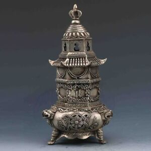 Exquisite-Chinese-Miao-Silver-Copper-Handwork-Carved-Pagoda-Incense-Burner-RT