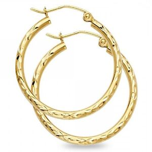 Image Is Loading Solid 14k Yellow Gold Round Hoop Earrings Diamond