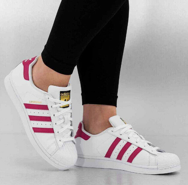 ADIDAS SUPERSTAR FOUNDATION SHOES B23644-WHT//PNK BIG KIDS GS