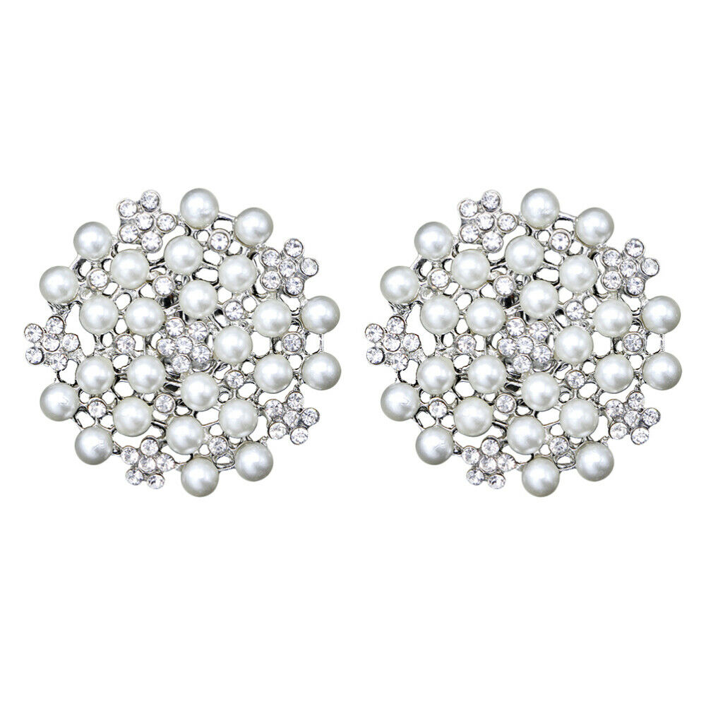 2PCS Rhinestone Shoe Buckles Diamante Round Pearls Shoe Decoration for Party