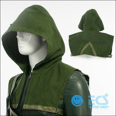 DC Green Arrow Oliver Queen Cosplay Costume Outfit Halloween - Green Hood Only !