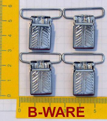 B-ware 4 HosentrÄgerclips 25mm Metal Verschluss Clips Hosenbundklemme Silber Neu Schrecklicher Wert
