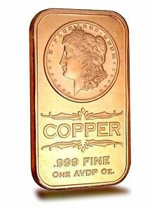 1 oz Copper Bar Morgan Dollar