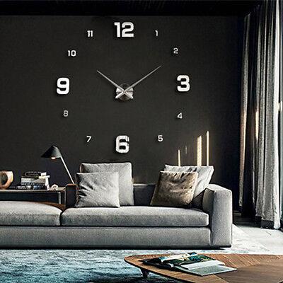 Modern Art Design Big DIY 3D Mirror Wall Workable Clock Home Decor  Gift