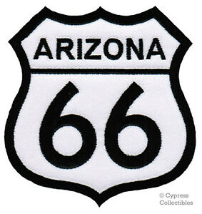 ARIZONA-ROUTE-66-EMBROIDERED-PATCH-IRON-ON-APPLIQUE-Highway-Road-Sign-Biker