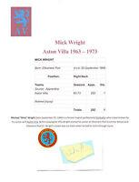 MICK WRIGHT ASTON VILLA 1963-1973 ORIGINAL HAND SIGNED CUTTING/CARD