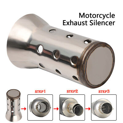 51mm Car Motorcycle Motorbike Exhaust Muffler Angled Can Insert Baffle Silencer