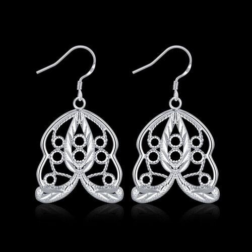 9 Style Européenne Argent Sterling 925 papillon feuille Fish Bone Dame Boucles d/'oreilles pendantes