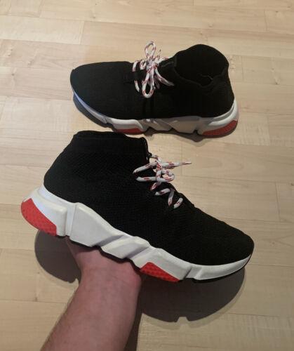 Balenciaga velocidad de punto con Cordones Negro/Blanco/Rojo Zapatillas Zapatos Entrenador-UK 7