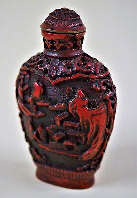 Aggressiv Snuff Bottle 鼻烟壶 - Antiquity Chinese Hand-carved Cinnabar Lacquer 2,75 Inches SchnäPpchenverkauf Zum Jahresende