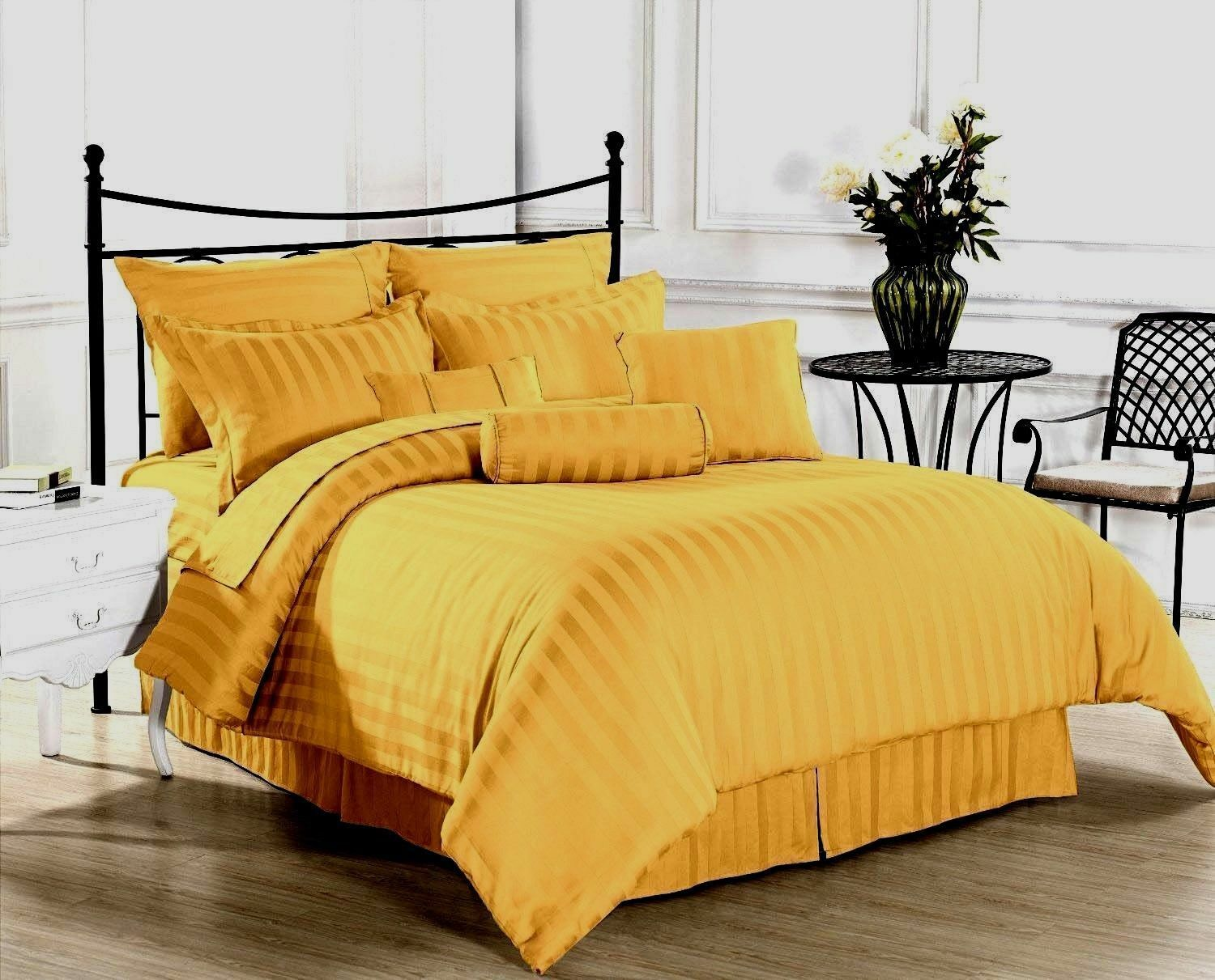 1000 Thread Count Egyptian Cotton Scala Bedding Items All US Sizes gold Striped