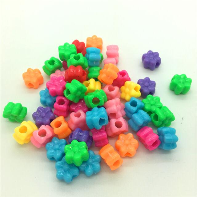 50pcs Mixed Shell Acrylic Perforation beads Children Kid DIY Jewelry Making #17