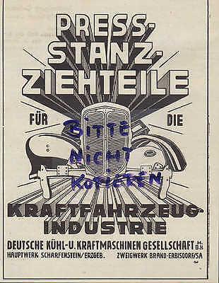 Zielsetzung Scharfenstein, Werbung 1938, Deutsche Kühl Press-stanz-zieh-teile Auto Kfz Lkw GüNstige VerkäUfe