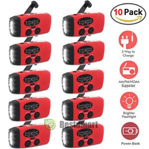 Emergency Solar Hand Crank Dynamo AM/FM/WB Weather Radio Flashlight USB Charger