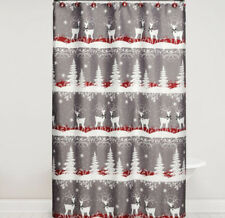 Bed Bath Beyond Xmas Snowflakes Tree Reindeer Silver Gray Shower Curtain Hooks