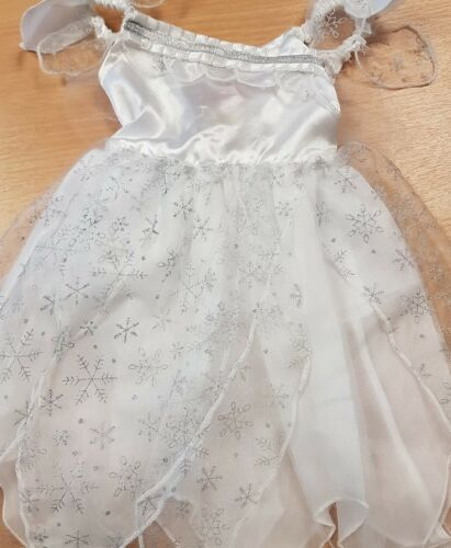 Children/'s White Fairy Fancy Dress Costume Snowflake Design Dress Up Aged 1-2