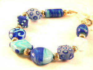 Shades-of-Blue-Lampwork-Glass-Bead-Bracelet