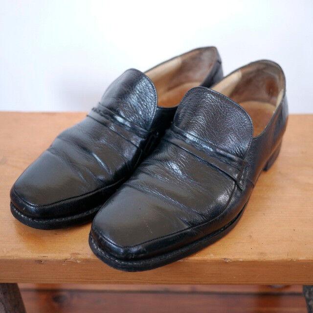 Vintage Grenson Footmaster Black Pebble Grain Leather Sole Loafers ENGLAND 7 40