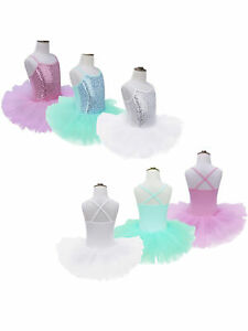 UK-Kid-Girl-Glittery-Dance-Leotard-Sport-Tutu-Dress-Ballerina-Skirts-Gym-Costume