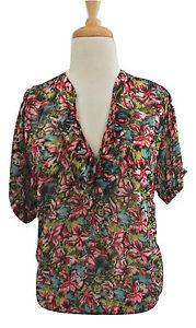 f483b5ea739f5a JOIE Floral print Veronica top XS silk chiffon short sleeve blouse ...