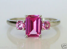 9ct White Gold Created Pink Sapphire Ring Gift 🎁