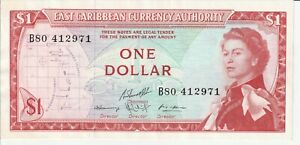 Vintage Banknote East Caribbean Authority 1965 1 Dollar UNC Pick 13f(2) 13 TDLR