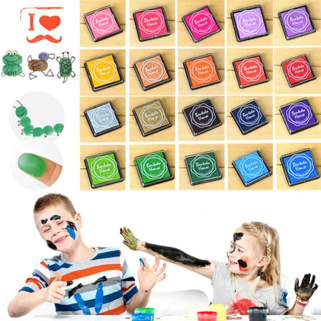 20Pc DIY  Candy Color Finger Print Ink Pad Kids Fashion  for Rubber Stamp   JF