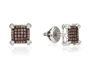 Details About Chocolate Brown White Diamond Stud Earrings 10k Gold Cer Studs 25ct