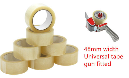 BIG Rolls Of CLEAR HeavyDuty Parcel Tape Packing sellotape Packaging 48mmx66m 4U