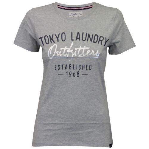 Ladies Top Tokyo Laundry Womens T Shirt Cap Sleeved Felt Embroidery Print Summer