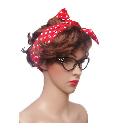 50s Pink Scarf Pin Up Rock n Roll Adults Ladies Fancy Dress Costume Accessory