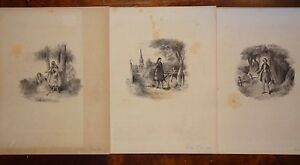 Incisione-gravure-antique-print-Lot-Victor-COINDRE-3-Lithographies-XIXe
