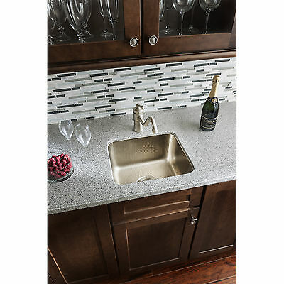Sinkology Rembrant Handcrafted 17-inch Bar Prep Sink in Hammered Nickel